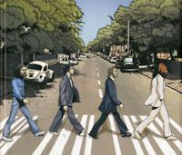 The Beatles op het zebrapad bij Abbey Road als strip