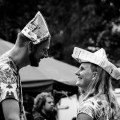 Two people enjoying a dance party in the forest of Formerum during Oerol 2017.
