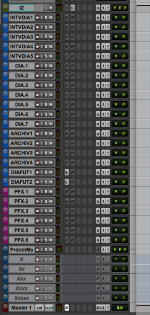 Track layout in Pro Tools for dialog editing