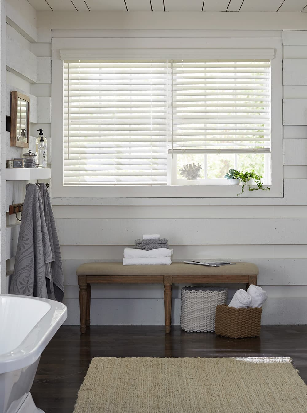 Charmant Bathroom With Wood Walls Painted White And Window With Two White Wood Blinds