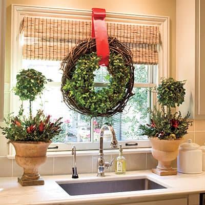 Christmas wreath in kitchen window