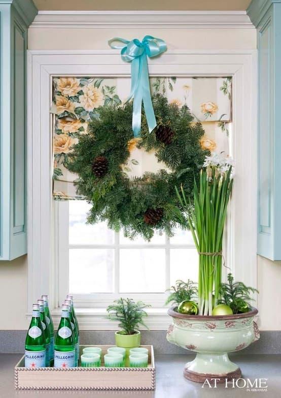 Holiday Window Decor Wreath And Printed Roman Shades