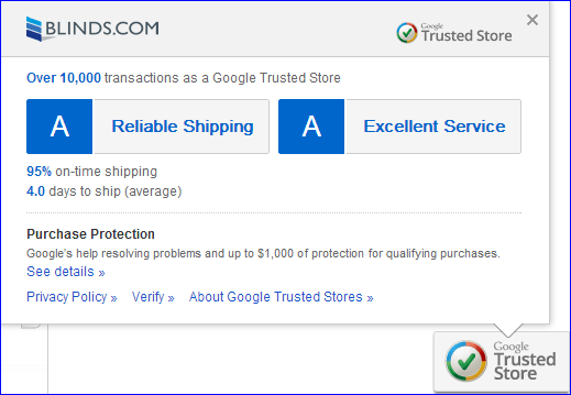 Blinds.com is now a Google Trusted Store!