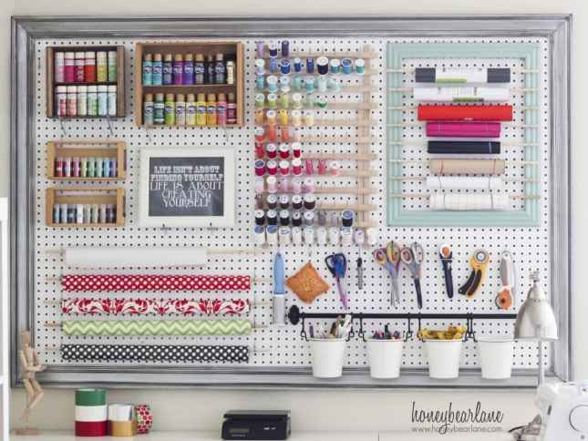 Pegboard Craft Room Storage
