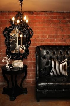 brick walls and black lacquer gothic home decor