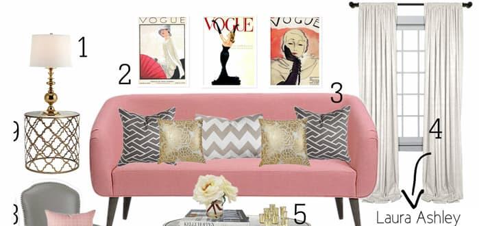 Feminine Living Room - Interior Designer Mood Board
