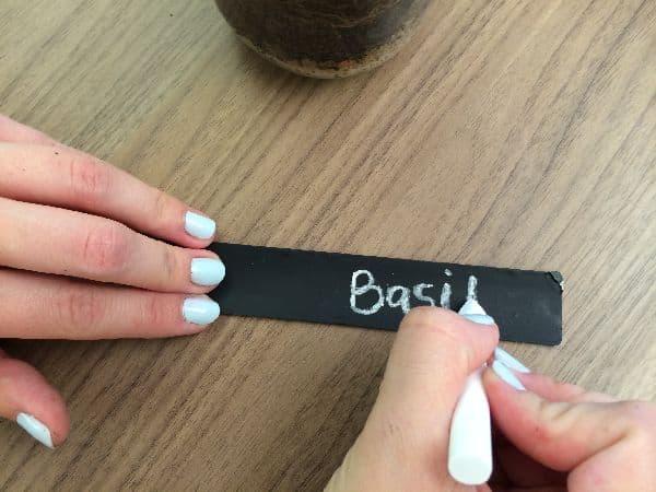 Chalkboard garden marker from blinds slat write