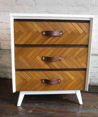 Herringbone Dresser Made with Blinds Slats