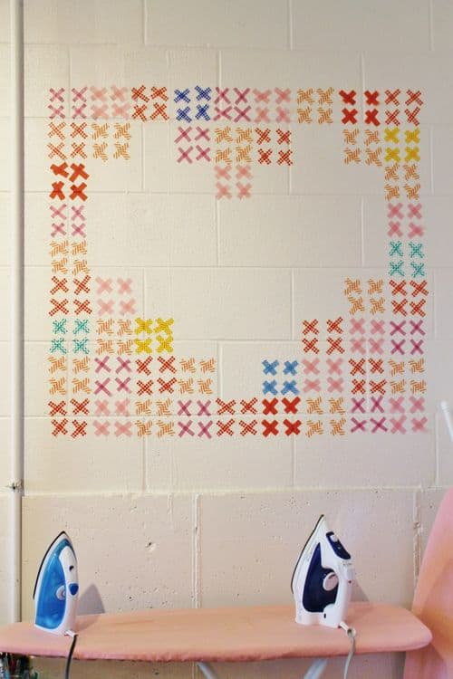 Washi Tape Cross Stitch Wall