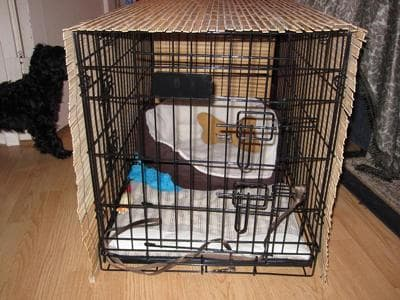 dog crate cover made of bamboo blinds