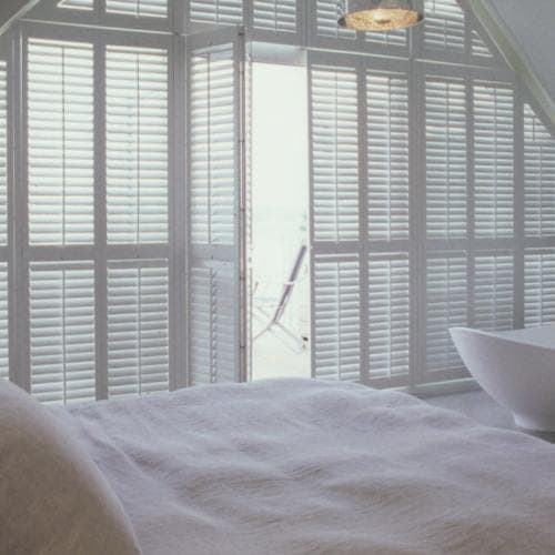 Shutters for angled windows