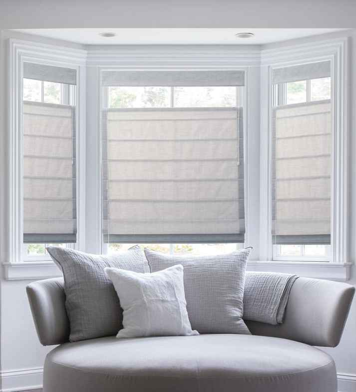 picture window blinds bathroom blindscom classic roman shades the ultimate guide to blinds for bay windows finishing touch