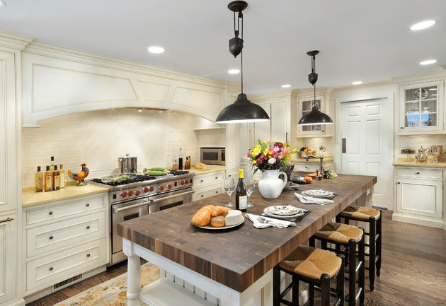 White Country Kitchen With Butcher Block 32 entertaining-friendly kitchen islands - the finishing touch