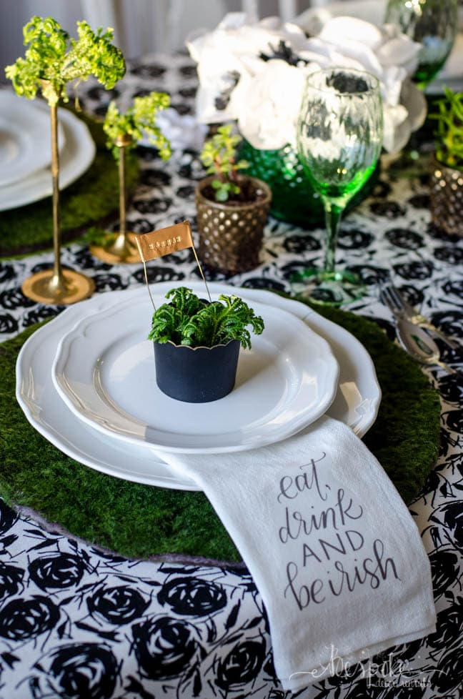 St Patrick's day table moss placemats
