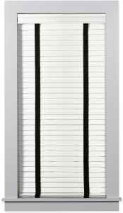 "2 3/4"" Architectural Wood Blinds in Danville Silk White with Black Cloth Tapes"