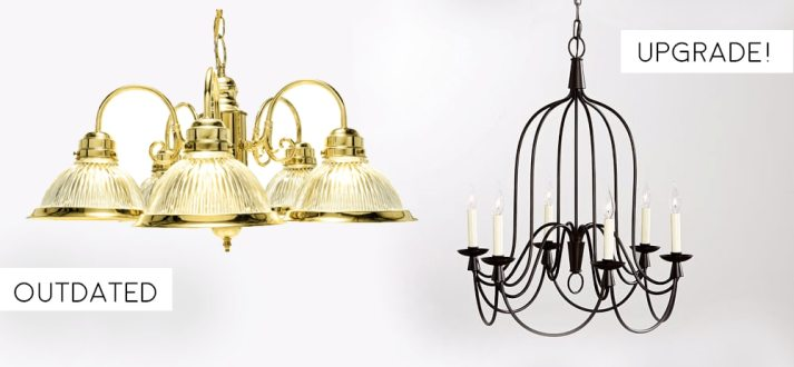 upgrade brass chandelier to wrought iron