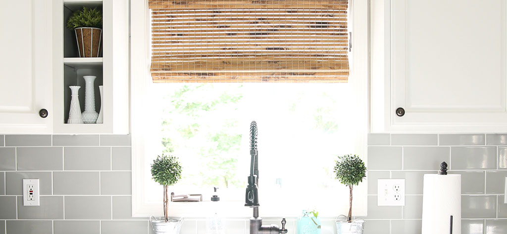 Give A Modern Farmhouse Kitchen Texture With Woven Wood Shades