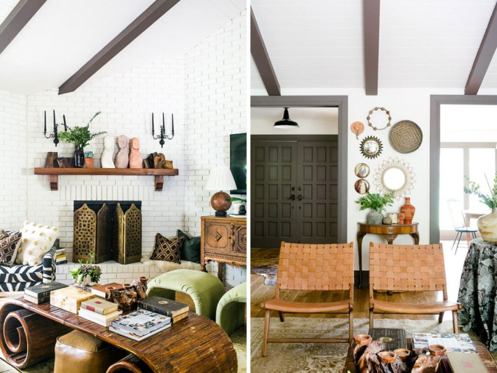 split image of living room with global inspired accessories and detail shot of leather chairs and gallery wall of mirrors