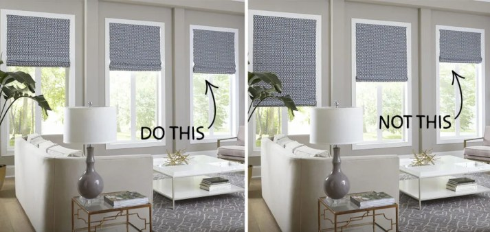 split image of roman shades raised to even levels versus lowered to random heights