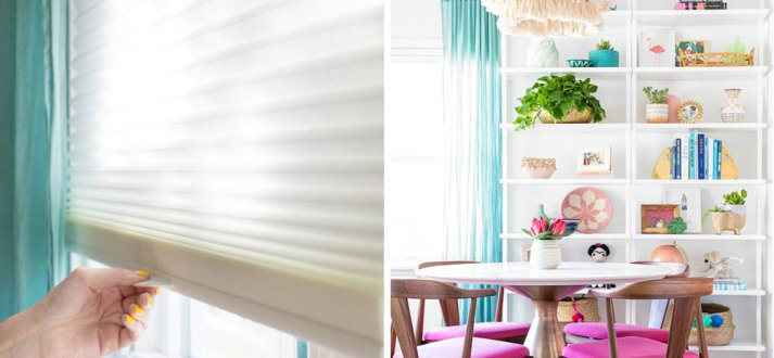 cellular shades for colorful dining room