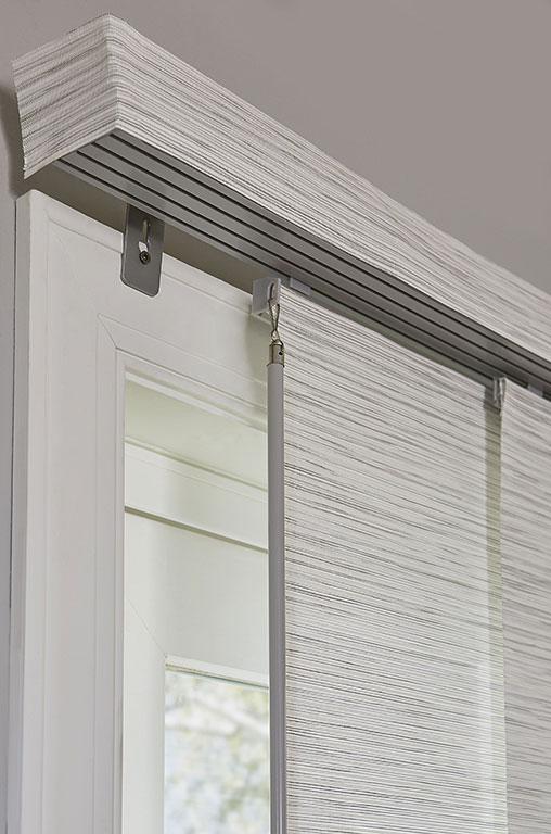 Closeup Shot Of Track And Fabric Wrapped Valance For Sliding Panel Track  Blinds From Blinds.