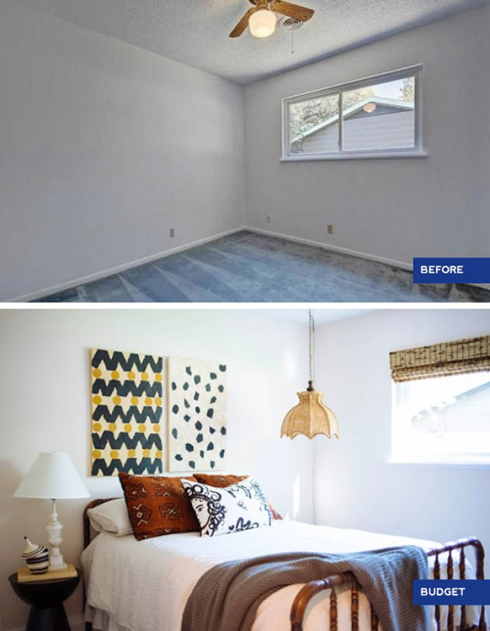 guest bedroom before and after with eclectic african-inspired decor