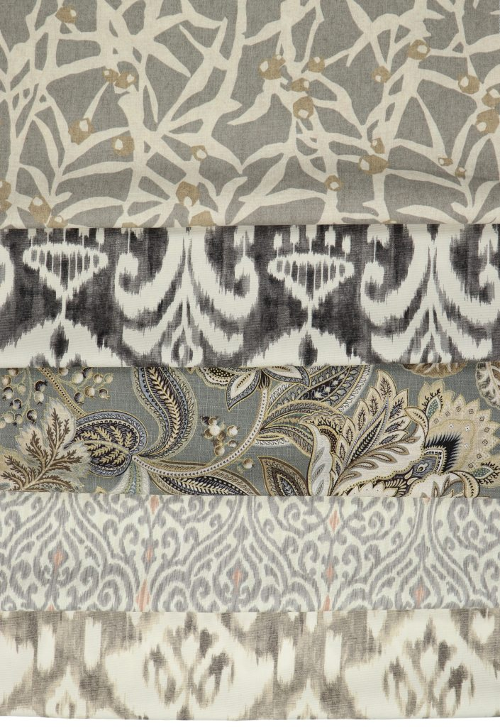 five neutral fabrics for roman shades in shibori prints, damask, and florals