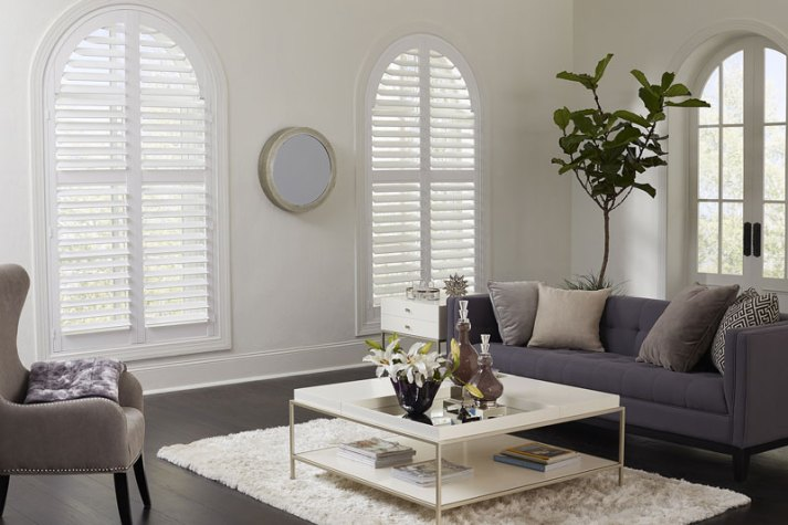 stylish living room with blue couch and arched windows with custom made plantation shutters.