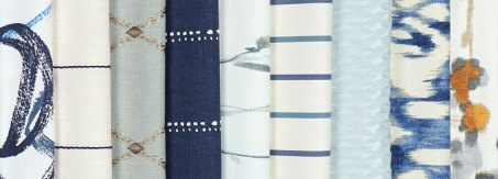 printed roman shade fabrocs from Blinds.com in blue tones