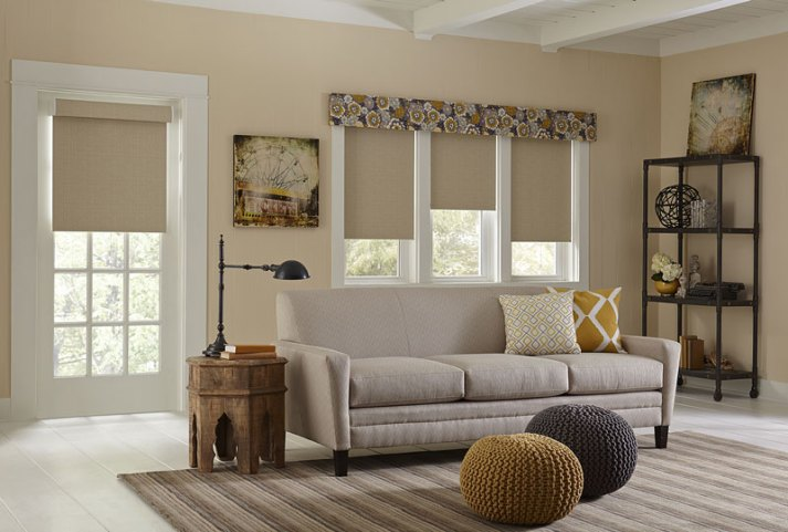 roller shades with valance in living room half raised