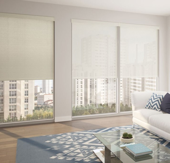 modern living room with side by side comparison of roller shades and solar shades fro Levolor