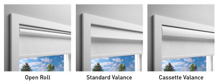 3 valance options for levolor roller shades - open roll, standard valance, and cassette valance