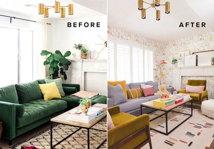 Before and after shot of living room with green couch and white walls vs after with grey couch colorful accessoires.