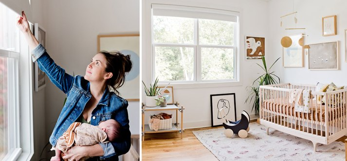 Solit image of mom holding baby and opening window shade with full shot of modern nursery