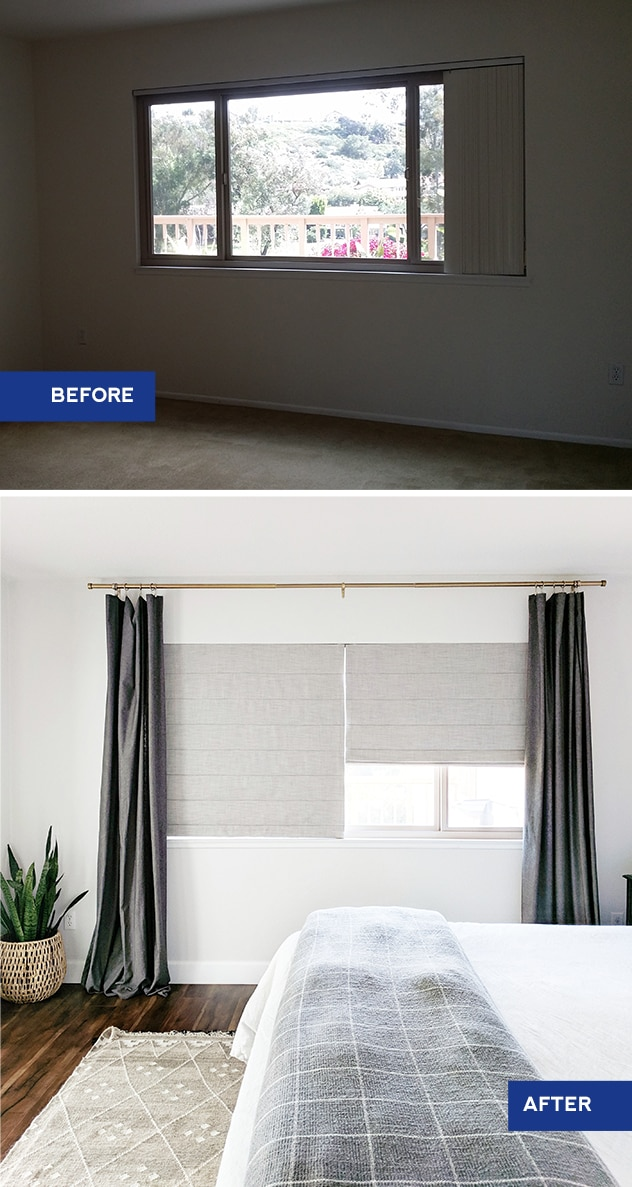 before and after graphic of master bedroom, before is empty room with vertical blinds, after shows bed with white comforter and grey blanket and large window covered with grey blackout roman shades and darker grey curtains