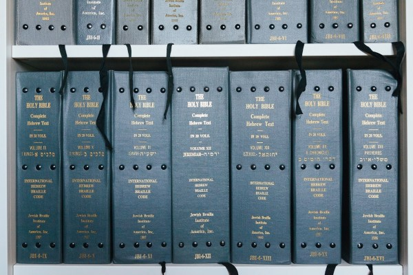 An image of my twenty-volume Hebrew Bible in Braille, sitting on my bookshelf.