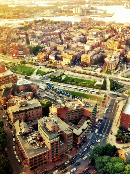 A photo of the City of Boston from a very high vantage point.