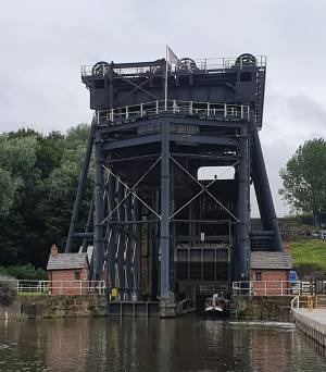 Exterior of the Anderton Boat Lift from the bottom.