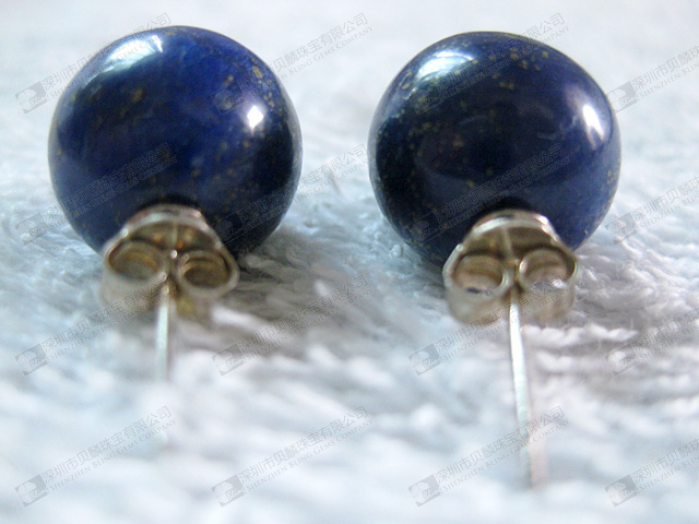 Natural semi precious stone lapis beads earrings