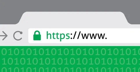 browser with a green address bar and a url starting with https