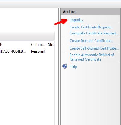 Import certificate