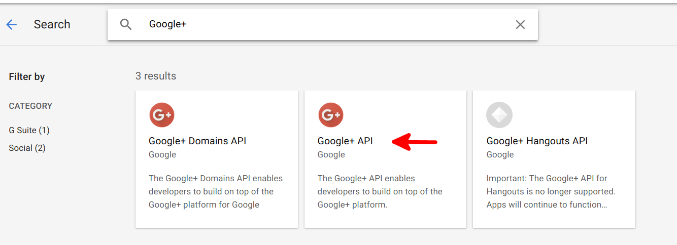 Add the Google+ API