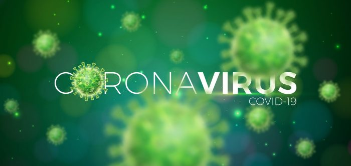 Covid-19. Coronavirus Outbreak Design with Virus Cell in Microscopic View on Green Background. Vector Illustration Template on Dangerous SARS Epidemic Theme for Promotional Banner or Flyer