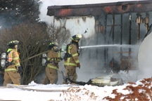At the fire scene Thursday afternoon. Copyright 2015, River Raisin Publications, Inc.