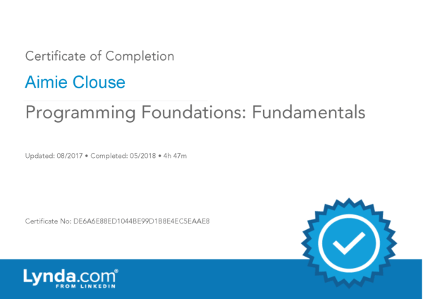Programming Foundations: Fundamentals Certificate of Completion