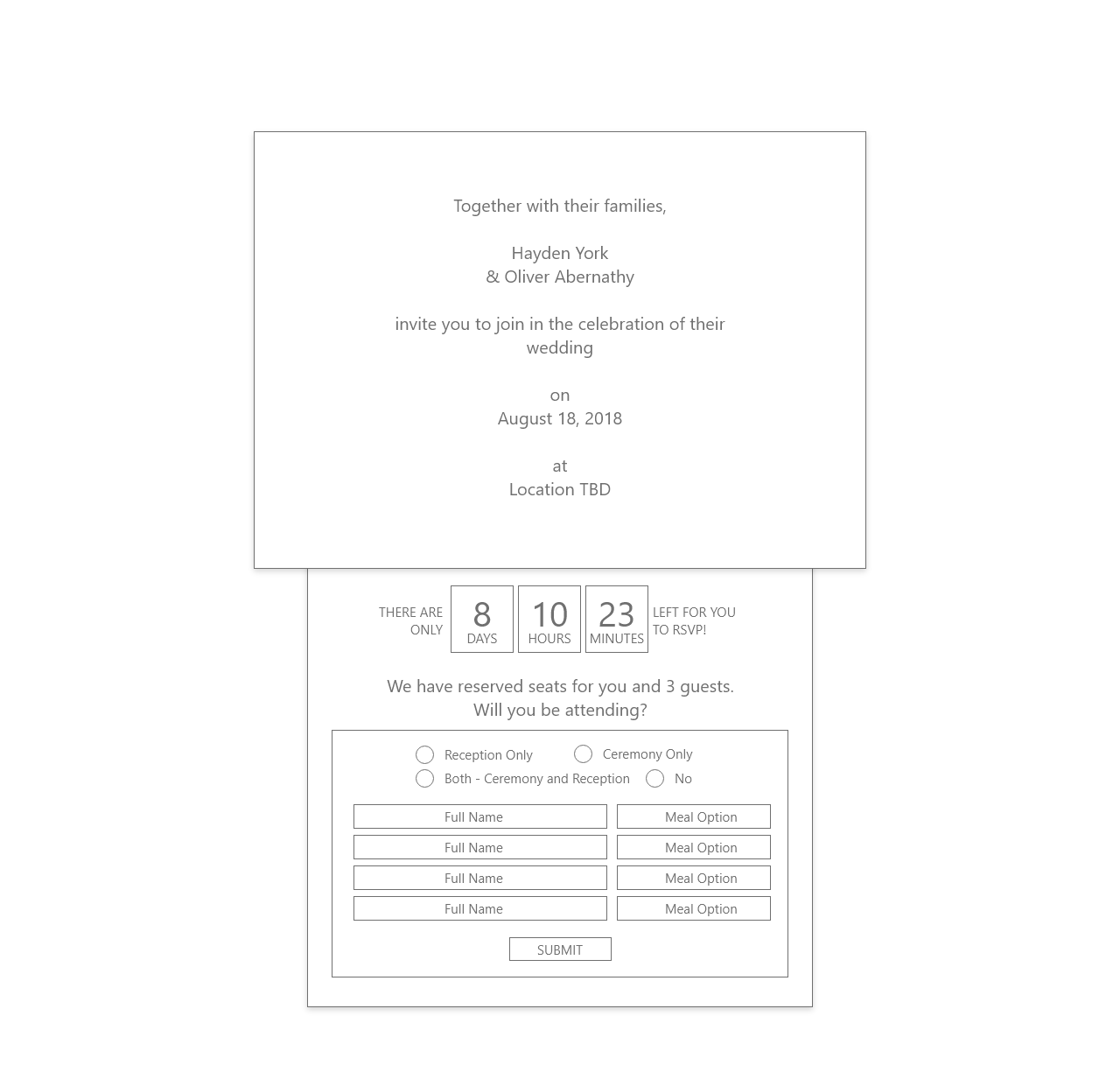 Wedding Invitation Wireframe