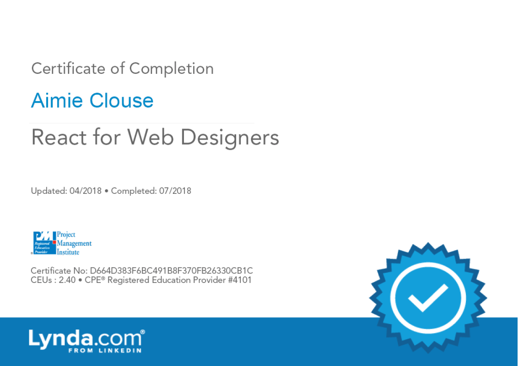 React for Web Designers Certificate of Completion