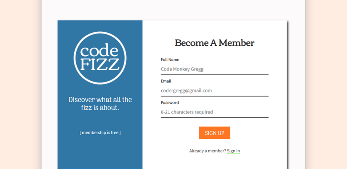 Code Fizz Sign Up UI/Website