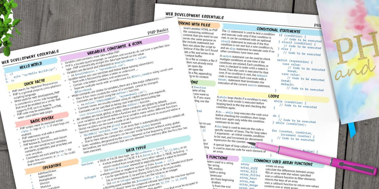 I recently made the decision to move from front-end web development to full-stack. To help with this transition, I decided to create a few printable cheat sheets and reference guides to help me remember some of the basics of PHP.