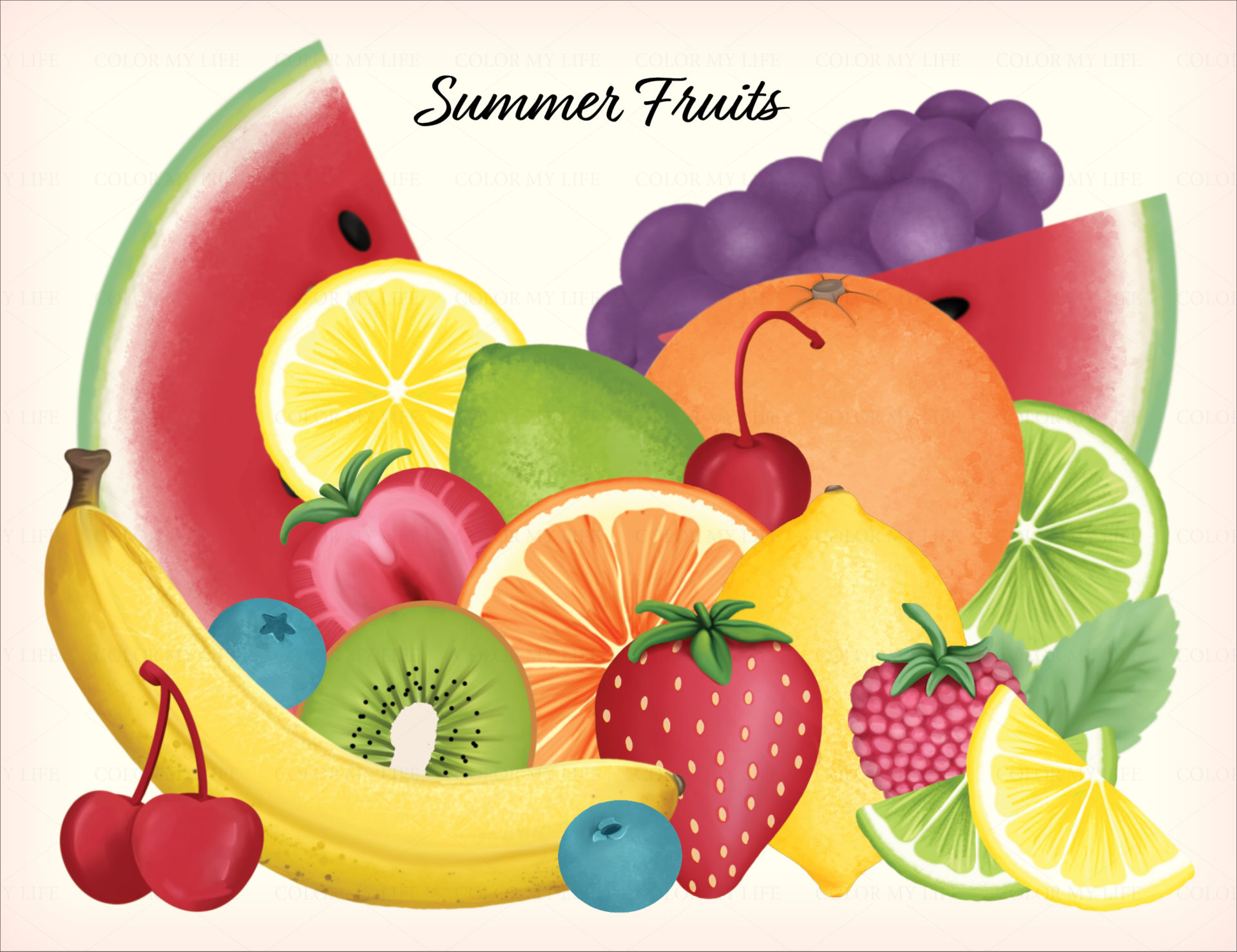 """Sweet Summer"" digital illustration collection, volume 1 from blissfullemon.com."